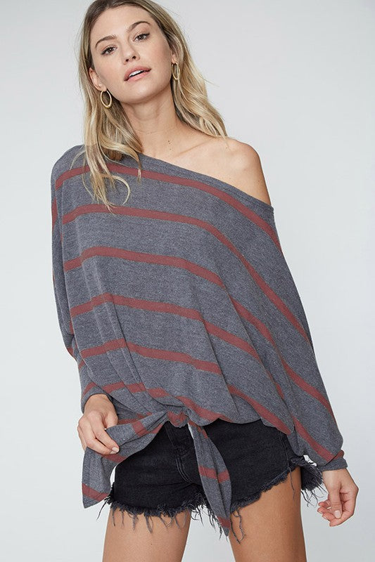 off shoulder knotted shirt