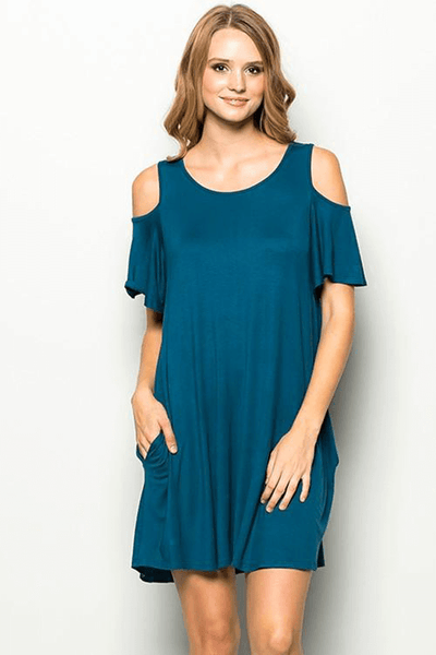 Cold Shoulder Shirt Dress | Up2Tempo