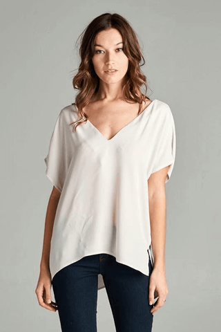Crepe V-Neck Top | Up2Tempo
