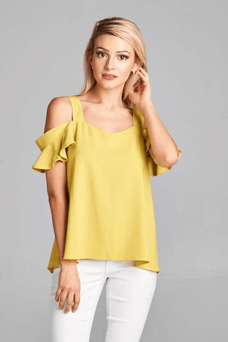Ruffled Off The Shoulder Tank | Up2Tempo