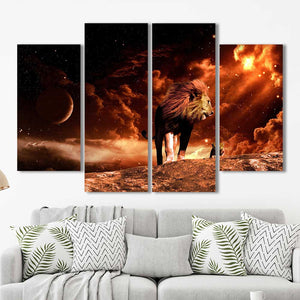 Lion and Cub Space Framed Canvas Home Decor Wall Art Multiple Choices 1 3 4 5 Panels