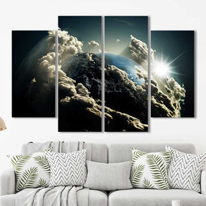 Planet Earth Outer Space Clouds Framed Canvas Home Decor Wall Art Multiple Choices 1 3 4 5 Panels
