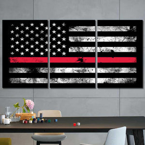 American Flag Firefighter Rugged Framed Canvas Home Decor Wall Art Multiple Choices 1 3 4 5 Panels