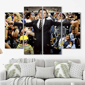 Wolf of Wall Street Money Leo Framed Canvas Home Decor Wall Art Multiple Choices 1 3 4 5 Panels