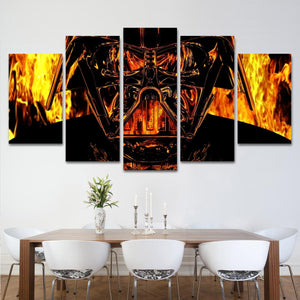 Darth Vader Flames Star Wars Five Panel Canvas Home Decor - The Force Gallery