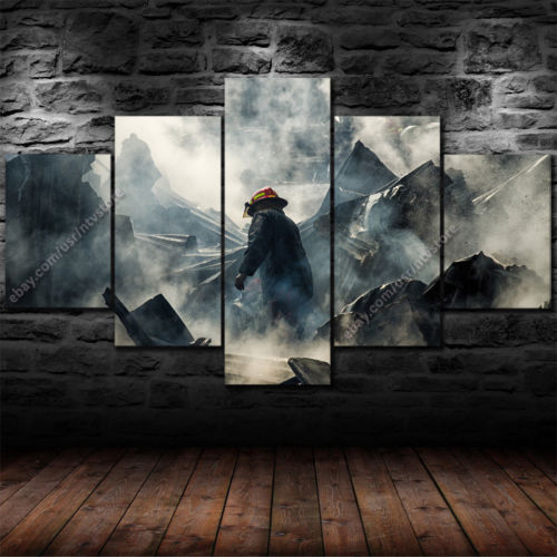 Firefighter Hero Rubble Five Piece Canvas - The Force Gallery