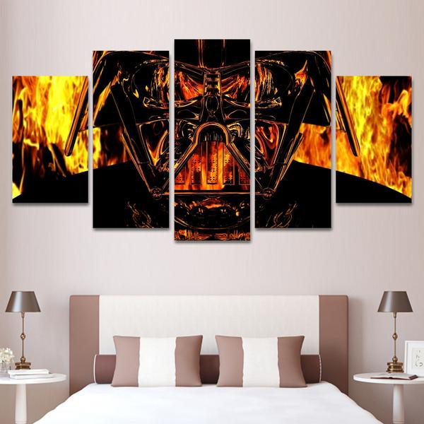 Darth Vader Flames Star Wars Five Panel Canvas Home Decor