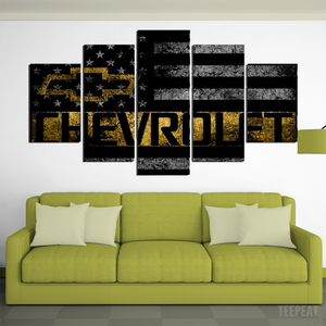 Chevrolet Symbol American Flag Framed Canvas - The Force Gallery
