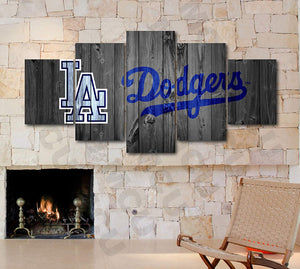 Los Angeles Dodgers Barnwood Style Five Piece Canvas Wall Art Home Decor Multi Panel 5 - The Force Gallery