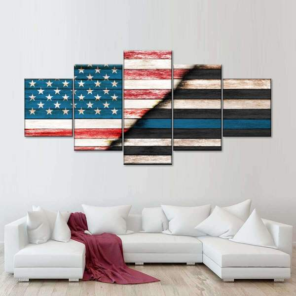American Police Flag Patriotic Five Piece Canvas Wall Art Home Decor Multi Panel 5 - The Force Gallery