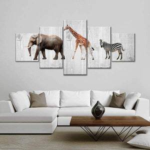 Nursery Animals Wood Look Five Piece Canvas Wall Art Home Decor Multi Panel 5 - The Force Gallery