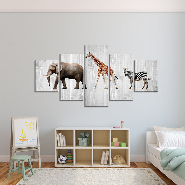 Kids Room Animals Five Piece Canvas Wall Art Wood Look