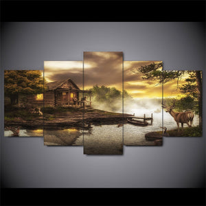 Cabin on the Lake Deer Nature Five Piece Canvas - The Force Gallery