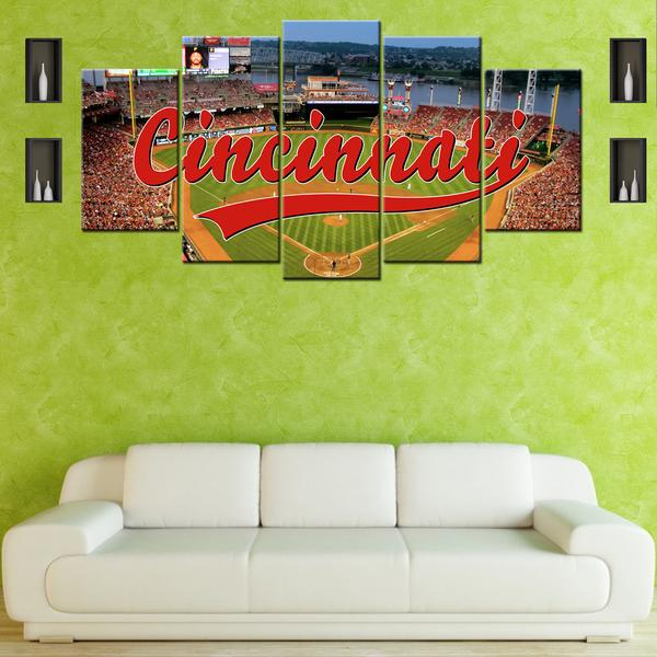 Cincinnati Reds Baseball Stadium Five Piece Canvas