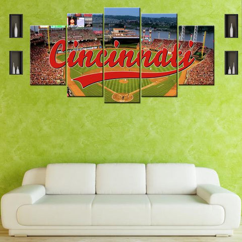 Cincinnati Reds Baseball Stadium Five Piece Canvas - The Force Gallery