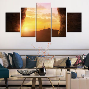 Crosses Sunset East Christianity Five Piece Canvas Wall Art Home Decor Multi Panel 5 - The Force Gallery
