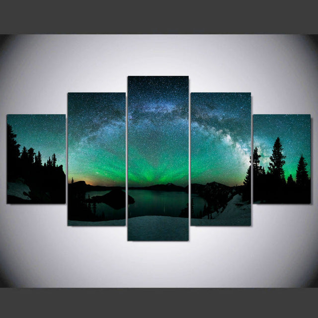 Northern Lights Aurora Borealis Space Canvas Wall Art Print Home Decor 5 Piece - The Force Gallery
