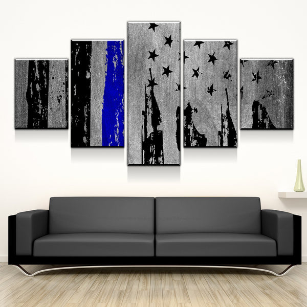 Rustic Distressed Police Blue Line Flag Five Piece Canvas