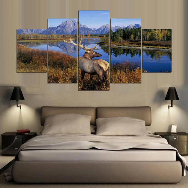Elk by River Mountains Nature Wildlife Canvas