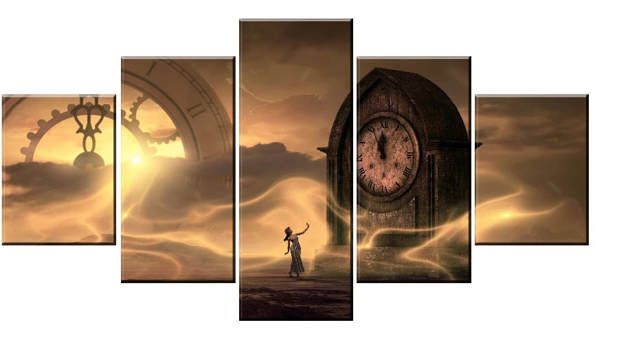 Time Clock Mystery Five Piece Canvas Wall Art Home Decor Multi Panel 5 - The Force Gallery
