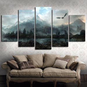 Dragon Game of Thrones Landscape Fire and Ice Canvas Wall Art Home Decor - The Force Gallery