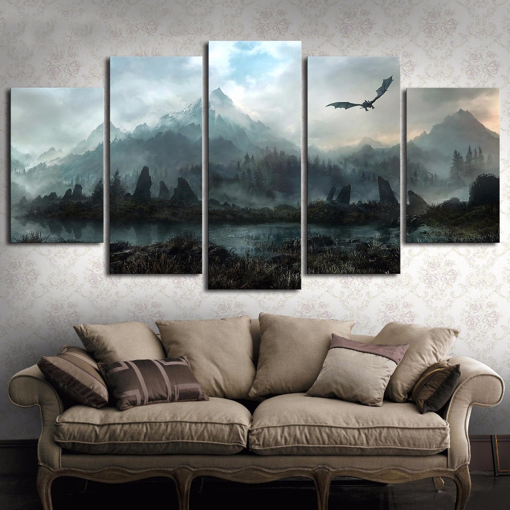 Game Of Thrones Home Decor.Dragon Game Of Thrones Landscape Fire And Ice Canvas Wall Art Home Decor
