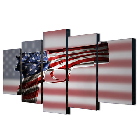 American Flag Gun 2nd Amendment Five Piece Canvas - The Force Gallery