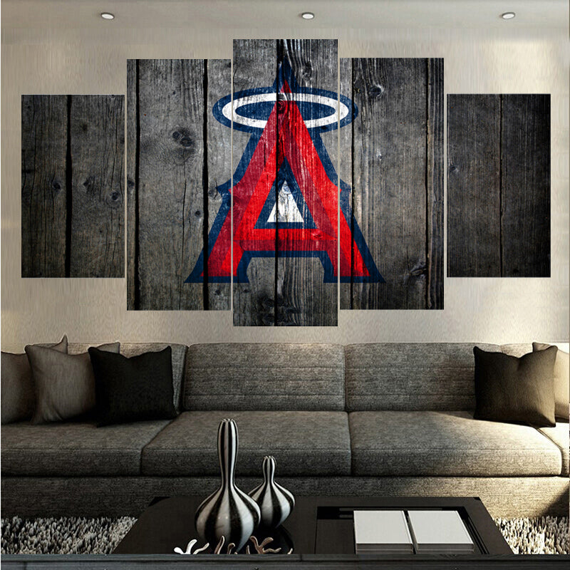 Los Angeles Angels Baseball Barnwood Style Canvas - The Force Gallery