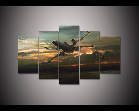X-Wing Star Wars Sunset Five Piece Canvas Wall Art Home Decor