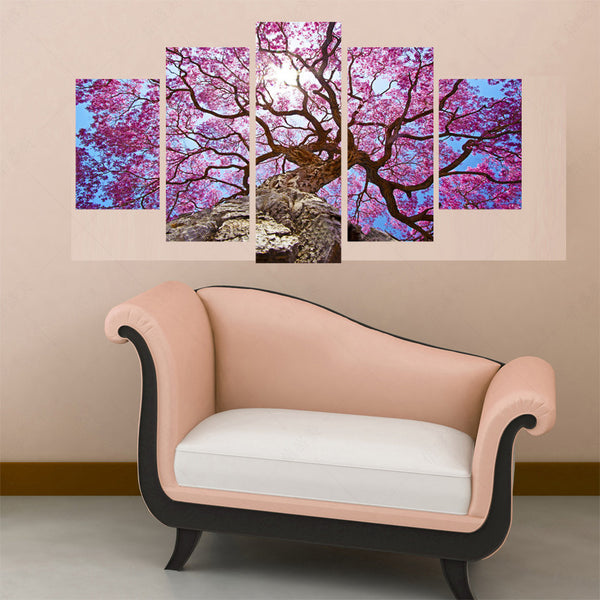 Large Tree Pink Leaves Sun Five Piece Canvas
