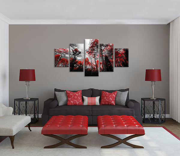 Forrest Red Trees Five Piece Canvas
