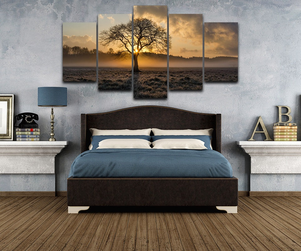 Tree Sunrise Fog Field Five Piece Canvas - The Force Gallery