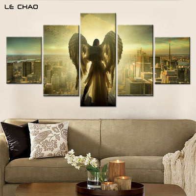 Angel over looking City Salvation Five Piece Canvas - The Force Gallery
