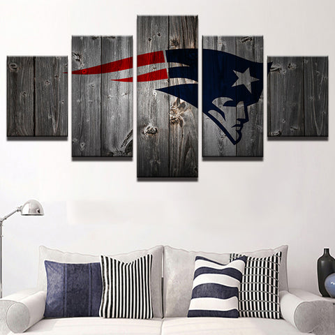 New England Patriots Football Canvas Barnwood Style