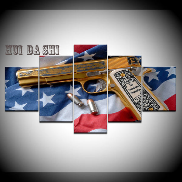 2nd Amendment Gold Gun American Flag Five Piece Canvas Wall Art Home Decor - The Force Gallery