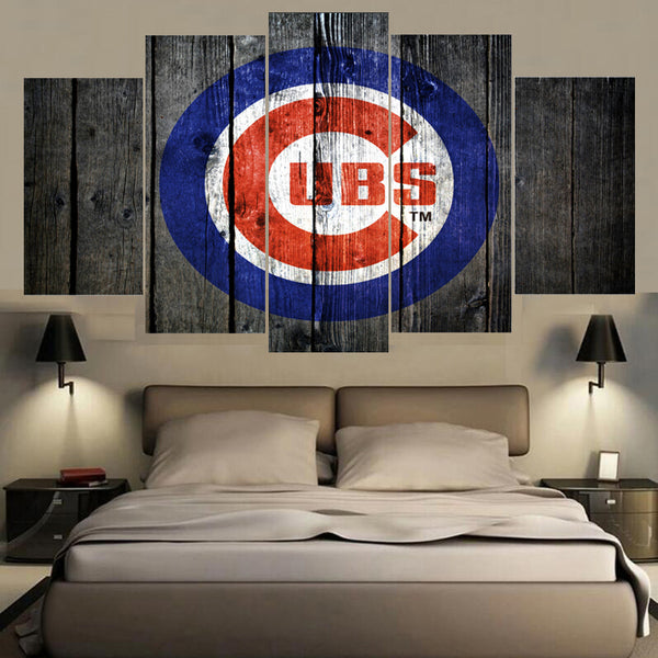 Chicago Cubs Barnwood Style Baseball Canvas