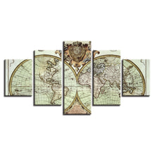 Old World Map Retro Vintage Five Piece Canvas Wall Art Home Decor - The Force Gallery
