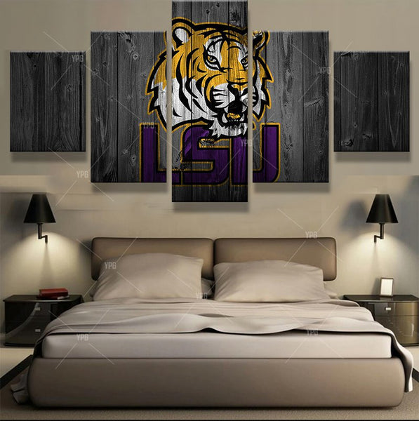 LSU Tigers College Football Canvas Barnwood Style
