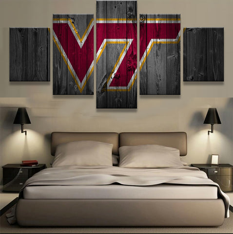 Virginia Tech Hokies College Football Canvas Barnwood Style - The Force Gallery