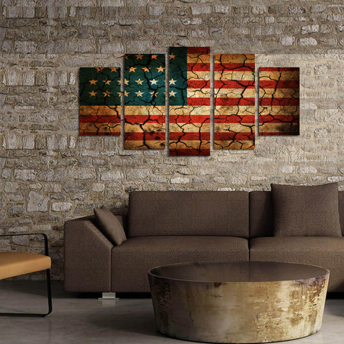 American Flag Cracked Look Canvas - The Force Gallery