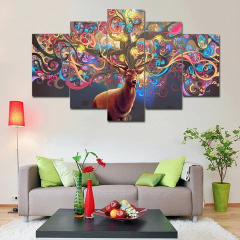 Deer Antler Colorful Canvas - The Force Gallery