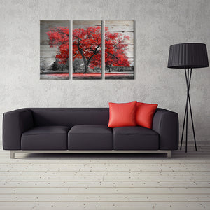 Red Tree Rustic Wood Look Large Framed Three Piece Canvas 16x32 INCHES x3 PC - The Force Gallery