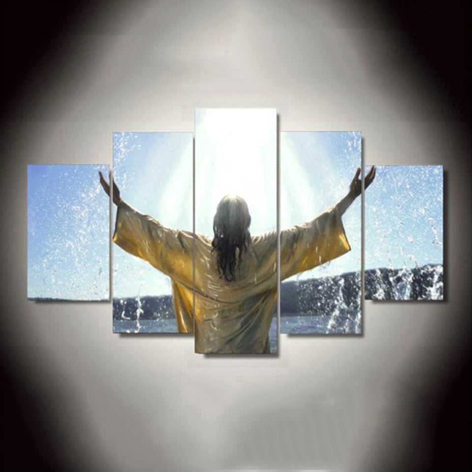 Jesus Baptism Heaven Christian Five Piece Canvas - The Force Gallery