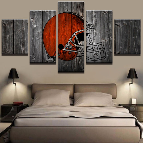 Cleveland Browns Football Canvas Barnwood Style