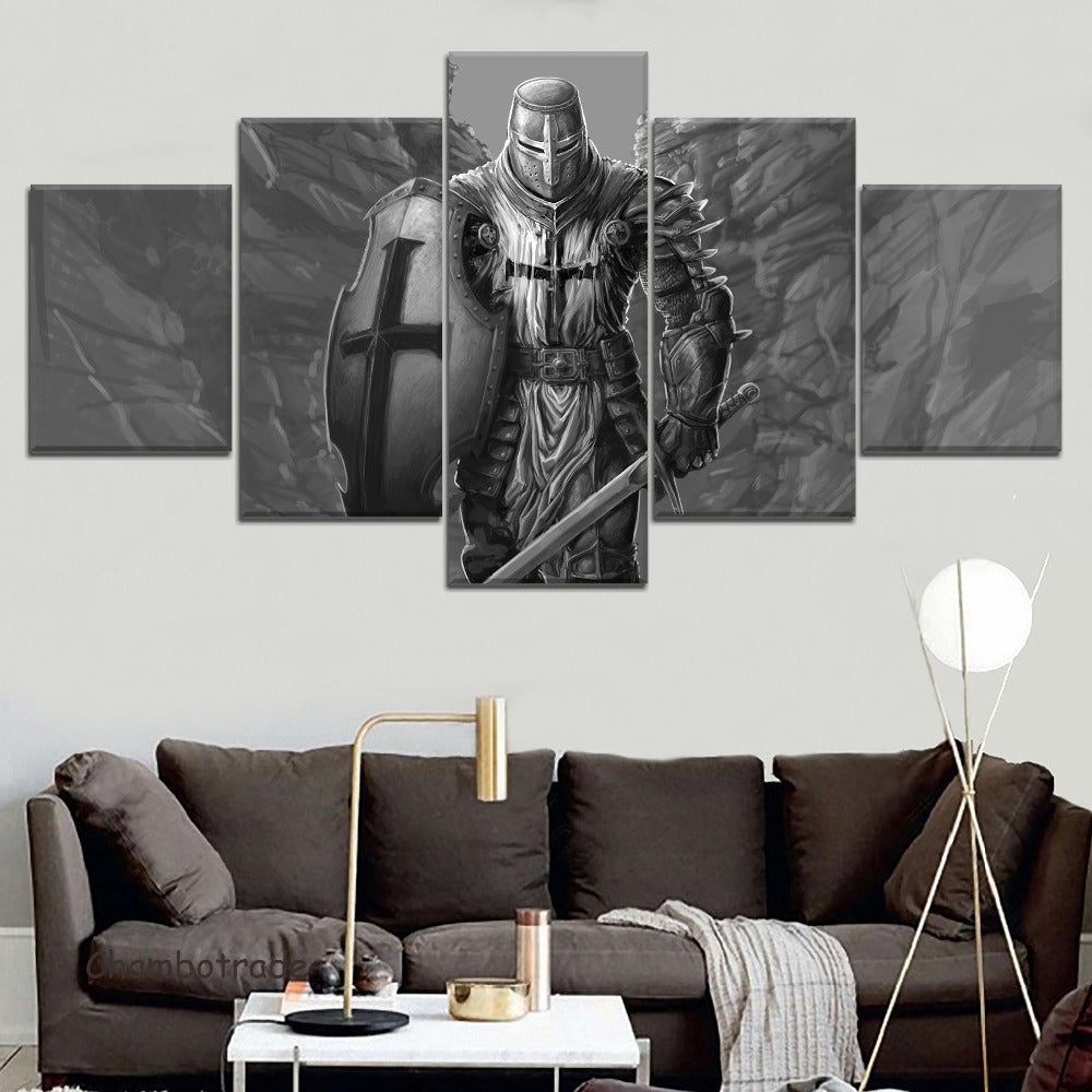 Knight Templar Medieval Black and White Five Piece Canvas Wall Art Home Decor Multi Panel - The Force Gallery