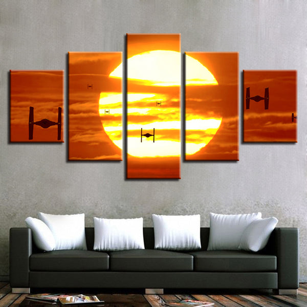 Tie Fighters Star Wars Empire Sunset Canvas Large Framed Five Piece