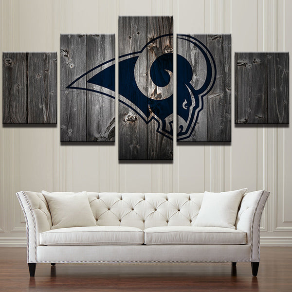 Los Angeles Rams Football Canvas Barnwood Style