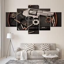Smith and Wesson Hand Gun 2nd Amendment Five Piece Framed Canvas Wall Art - The Force Gallery