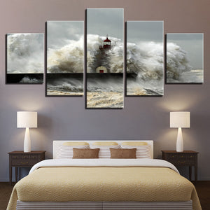 Lighthouse Crashing Waves Ocean Five Piece Canvas - The Force Gallery