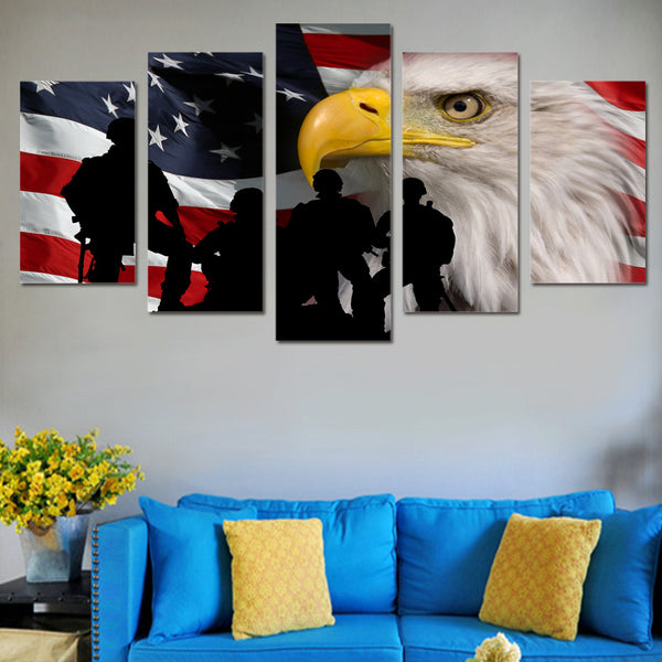 American Flag Bald Eagle Soldiers Canvas